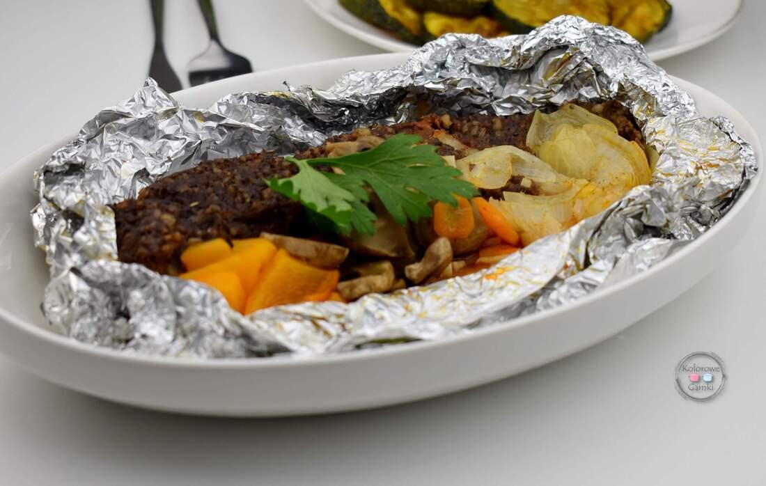 Kaszanka z warzywami na grilla